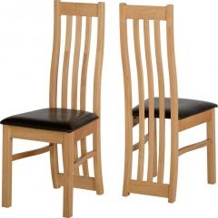 Seconique Ainsley Solid Wood Dining Chairs - Brown Faux Leather Seat, Set of 2