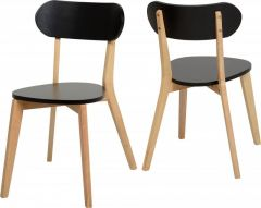 Seconique Julian Stacking Dining Chairs - Black & Natural Oak Colour, Set of 2