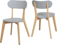 Seconique Julian Stacking Dining Chairs - Grey & Natural Oak Colour, Set of 2