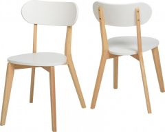 Seconique Julian Stacking Dining Chairs - White & Natural Oak Colour, Set of 2