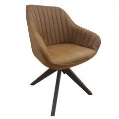 Ivar Modern Brushed Fabric Accent Armchair with Sturdy Metal Spoke Legs Cognac Brown