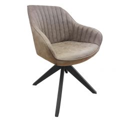 Ivar Modern Brushed Fabric Accent Armchair with Sturdy Metal Spoke Legs Pebble Grey