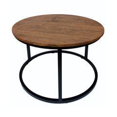 LPD Java Black Metal Frame & Distressed Effect Wood Coffee Table