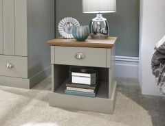 Kendal Grey & Oak Top Country Style Bedside Cabinet