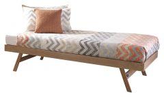 Madrid Solid Wood 3ft Single Guest Folding Trundle Bed - Oak
