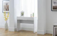 Julian Bowen Manhattan White High Gloss Bedroom Range - 2 Drawer Dressing Table