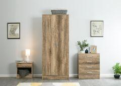 Nebula Natural Oak 3 Piece Bedroom Furniture Set - Wardrobe, Bedside, Chest of Drawers