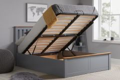 Birlea Phoenix Wooden Ottoman Storage Bed - Stone Grey - 4ft Small Double, 4ft6 Double & 5ft Kingsize