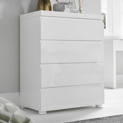 LPD Puro High Gloss 4 Drawer Chest in White