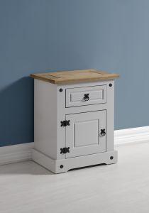 Seconique Corona 1 Door 1 Drawer Bedside Cabinet - Grey & Distressed Waxed Pine