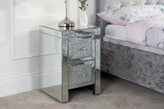 Birlea Vienna Mirrored Glass & Crystal Decorated Assembled 2 Drawer Bedside