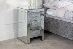 Birlea Vienna Mirrored Glass & Crystal Decorated Assembled 3 Drawer Bedside