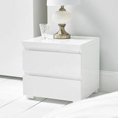 LPD High Gloss 2 Drawer Bedside in White
