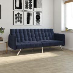 Emily Convertible Click-Clack Split Back Sofa Bed Tufted Navy Blue Linen