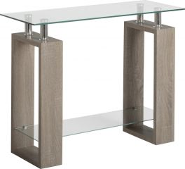Seconique Milan Living Room Console Table Light Charcoal & Clear Glass