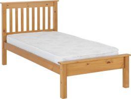 Seconique Monaco 3ft Single Low Foot End Bed - Antique Pine
