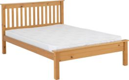 Seconique Monaco 4ft6 Double Low Foot End Bed - Antique Pine
