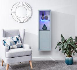 Polar High Gloss Modern Wall Mounted LED Lit Display Unit - Grey