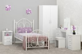 Seconique Nevada 90 x 190 UK 3ft Single Grey Gloss & Light Oak Effect Veneer MDF Bed Frame