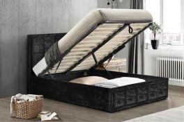 Birlea Hannover Black Crushed Velvet Ottoman Lift Up Storage Bed - 4ft, 4ft6 & 5ft