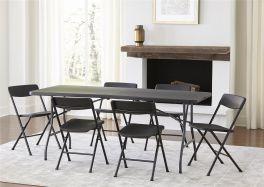 COSCO Deluxe Outdoor Centre Folding 6ft Picnic Garden Dining Table Black