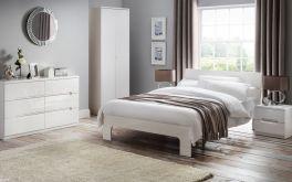 Julian Bowen Manhattan White High Gloss Bed - 4ft6 Double or 5ft Kingsize