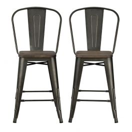 """Luxor 24"""" Counter Stool Copper Metal With Wood Seat Set of 2"""