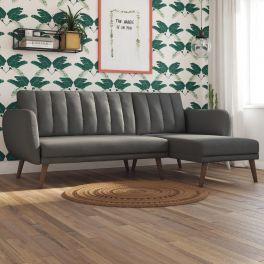 Novogratz Brittany Click Clack Split Back Sofa Bed Ribbed Linen Dark Grey