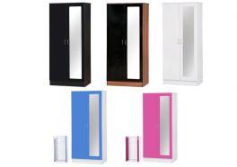 Alpha Gloss 2 Door Mirrored Wardrobe - Black, White, Black & Walnut, Pink or Blue