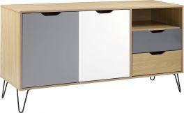 Seconique Bergen 2 Door 2 Drawer Sideboard - Multicolour Oak, White & Grey