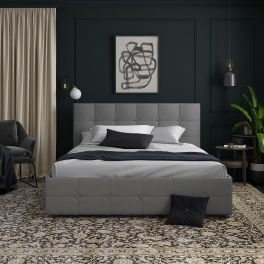 Rose Grey Linen Unholstered Storage Bed 5ft King Size 150 x 200 cm By Dorel
