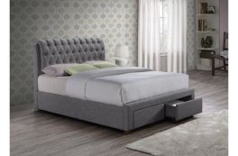 Birlea Furniture Valentino 2-Drawer Fabric Storage Bed 4ft6 or 5ft - Grey