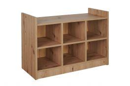 Alaska Oak Shoe Tidy Cabinet Storage Shelving Bench - Fits 6 Pairs of Shoes