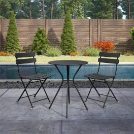 COSCO 3 Piece Bistro Set Outdoor Patio Garden Dining Table & Chairs Black
