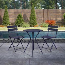 COSCO 3 Piece Bistro Set Outdoor Patio Garden Dining Table & Chairs Navy Blue