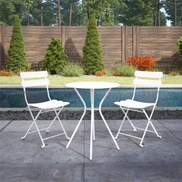 COSCO 3 Piece Bistro Set Outdoor Patio Garden Dining Table & Chairs White