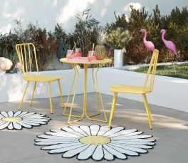 Novogratz Heidi Poolside Gossip Collection 3 Piece Outdoor Bistro Set Yellow