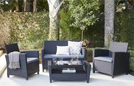 COSCO Malmo 4 Piece Resin Wicker Rattan Outdoor Garden Set Black With Grey Cushions
