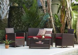 COSCO Malmo 4 Piece Resin Wicker Rattan Outdoor Garden Set Brown With Red Cushions