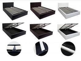 Boston Ottoman Storage Gas Lift Bed - Black, Brown, White - 4ft6 Double