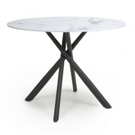 Shankar Avesta White Marble Effect Glass Top Round Dining Table