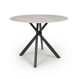 Shankar Avesta Grey Marble Effect Glass Top Round Dining Table