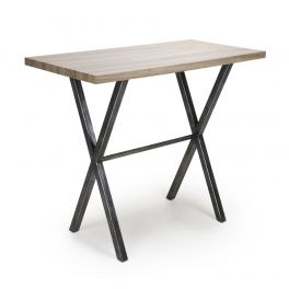 Shankar Brevik 120cm x 60cm Breakfast Bar Table - Steel Frame & Oak Effect Top