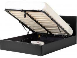 Seconique Waverley 4ft Ottoman Storage Bed - Black Faux Leather