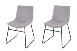 Core Aspen Grey Fabric Upholstered Dining Chairs, Set of 2