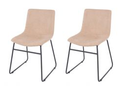 Core Aspen Sand Fabric Upholstered Dining Chairs, Set of 2