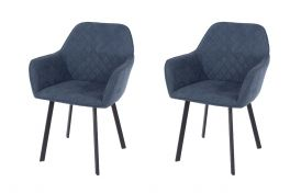 Core Aspen Blue Fabric Upholstered Armchairs, Set of 2
