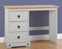 Seconique Corona 3 Drawer Dressing Table - Grey & Distressed Waxed Pine