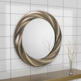 Julian Bowen Andante Round Silver Swirl Effect Wall Mirror