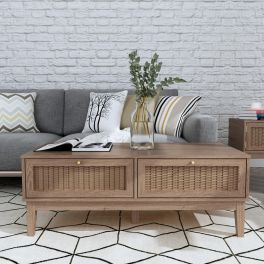 LPD Bordeaux 2 Drawer Coffee Table with Gold Handles and Rattan Effect Fronts